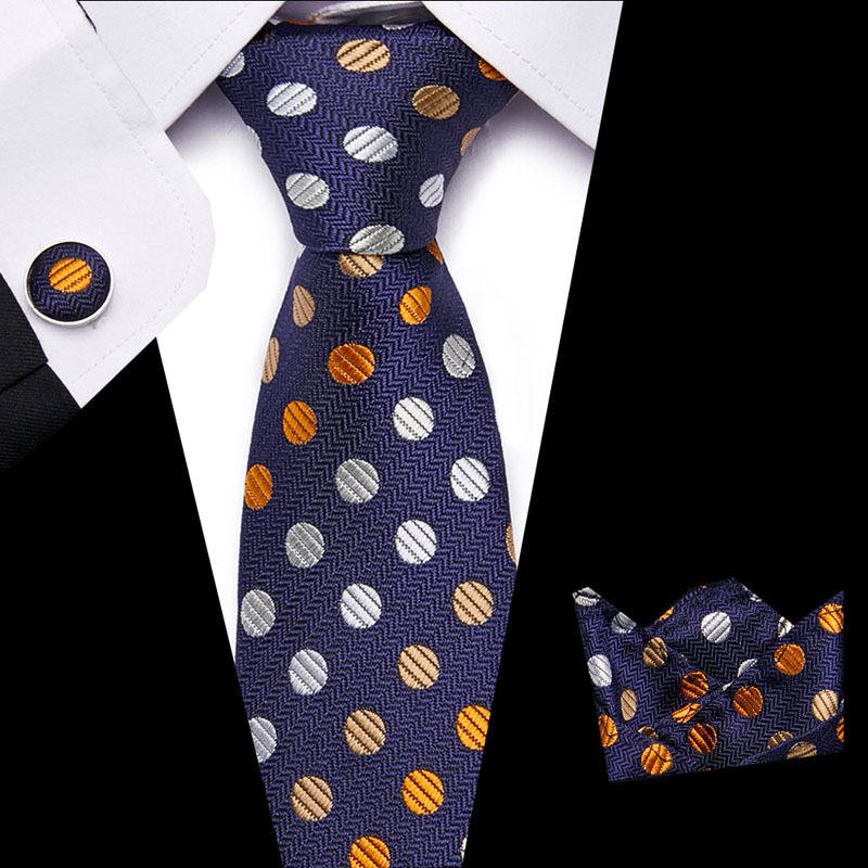 Hot Sell  7.5cm Silk Tie Solid Plaid Necktie For Men Quality Cravats  Tie And Handkerchief Set Suit For Wedding Party