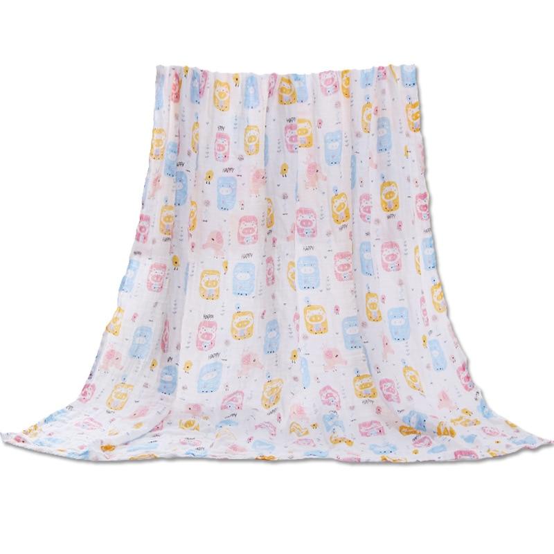Muslin Pure Cotton Gauze Bath Towel Newborns Baby Swaddle INS Hot Selling Trolley Seat Blanket 2-Story Baby Wraparound Cloth