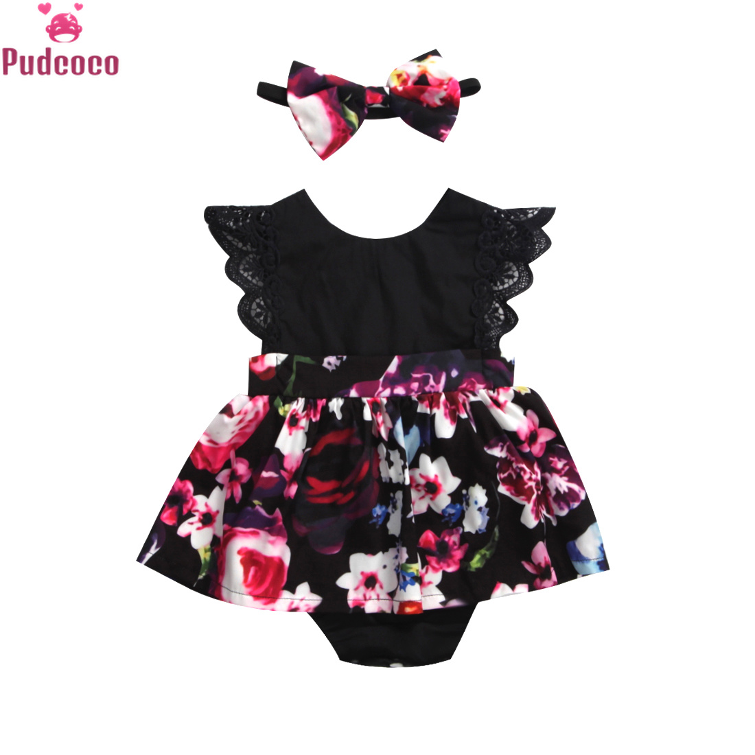 2Newborn Baby Infant Girl Romper Tutu Dress Headband Floral Outfits Party Dress