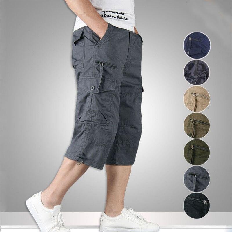 2021 летние мужские повседневные хлопчатобумажные шорты для женщин длинные Длина мульти карманные капри штаны мужские военные камуфляжные к...