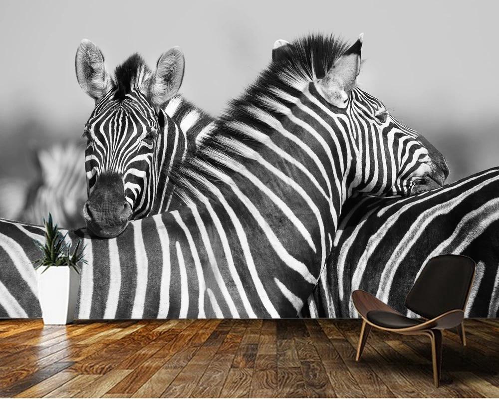 Custom 3d wallpaper, Black and white photo head zebra mural for living room