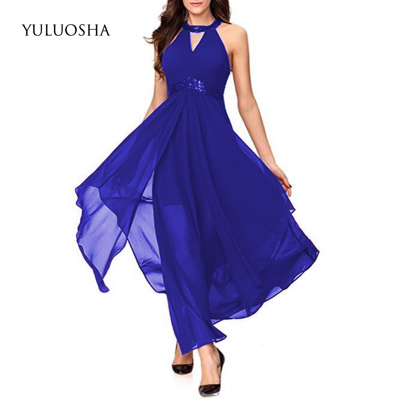 YULUOSHA Evening Dress 2020 Sexy Halter Sleeveless Backless Evening Party Prom Formal Gowns Long Dresses Vestidos Robe De Soiree