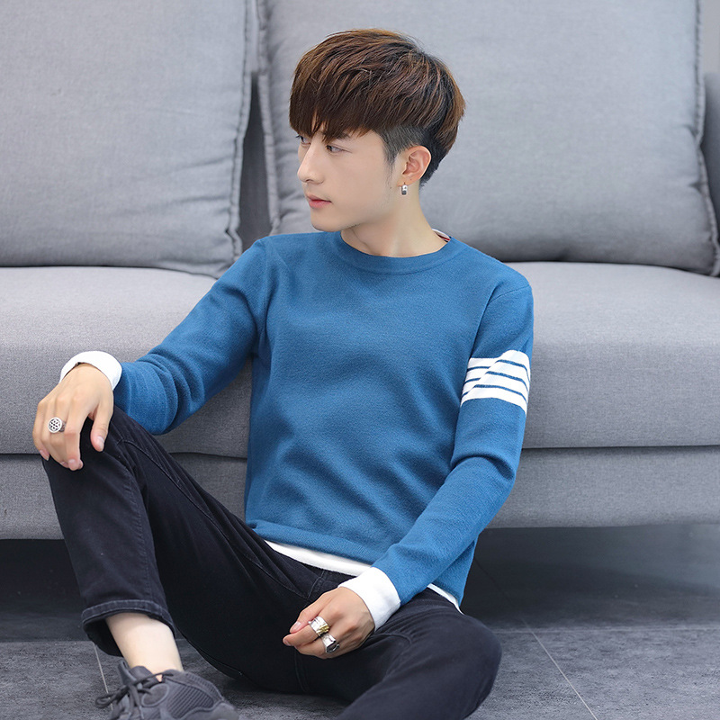 New Green Men Sweater Light Blue Black Fashion Spring And Autumn Pullovers Casual O-Neck Solid Mens Sweaters
