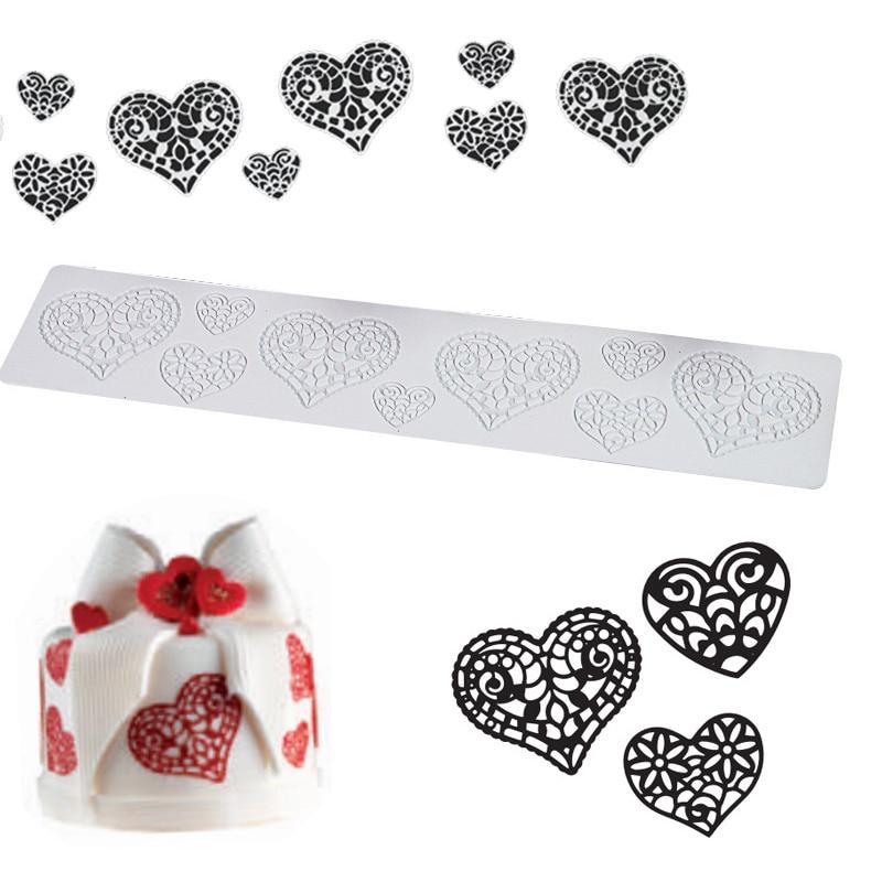 Силиконовая форма для помадки в форме сердца, кружевной коврик для украшения торта, инструменты для DIY, аксессуары для выпечки из силиконы