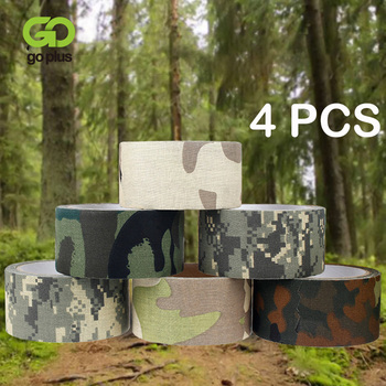 4pcs Outdoor Multi-functional Camo Tape Non-woven Self-adhesive Waterproof Non-Slip Camouflage Camping Hiking Airsoft Rifle Tape outdoor retractable camouflage tape camo self adhesive non woven fabric wrap desert camo