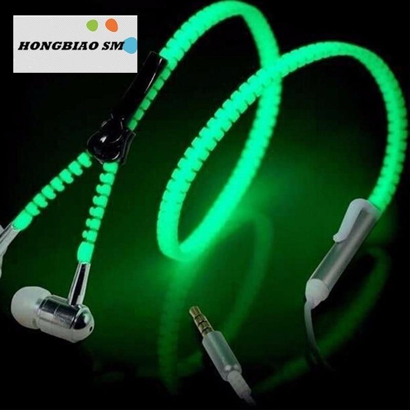 Fashion Glow In The Dark Earphone Metal Wired Earbuds With Mic Glowing Zipper Headset Luminous Light Stereo Handsfree Earphone