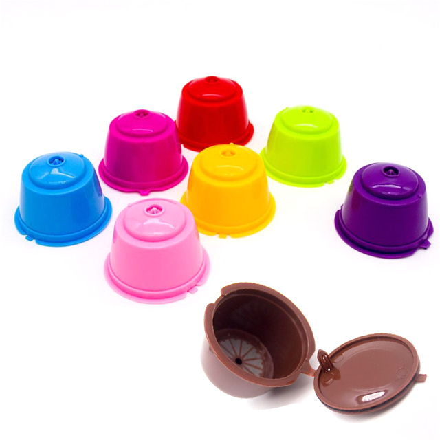 8 Color Reusable Coffee Capsule Plastic Refillable Compatible for Dolce Gusto Coffee Filter Baskets Capsules