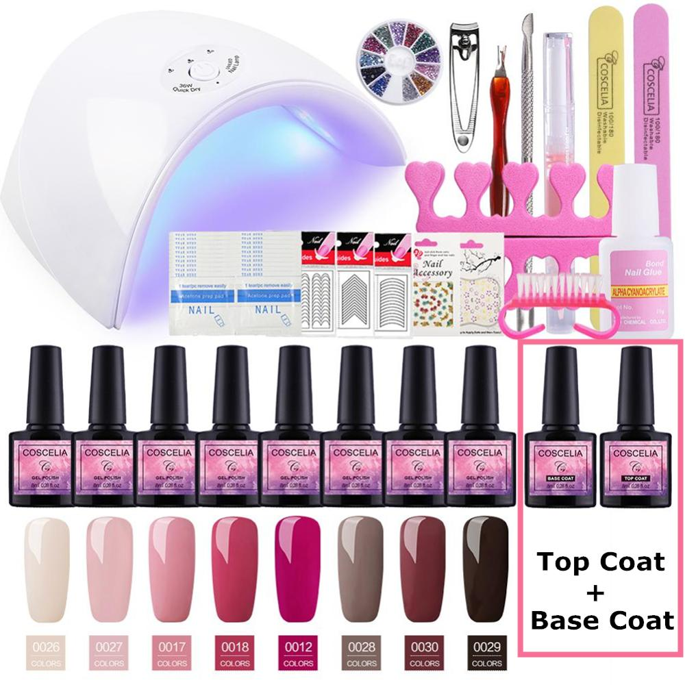 Full Manicure Set With Lamp 36W Gel Nail Polish Tools For 8pcs All Art