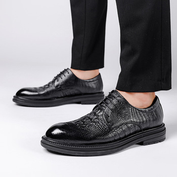 Alligator print genuine leather cowskin dress shoes men male man office oxfords formal business work party lace up  footwear qyfcioufu new genuine leather men s dress shoes handmade office business wedding weave luxury lace up formal oxfords mens shoes