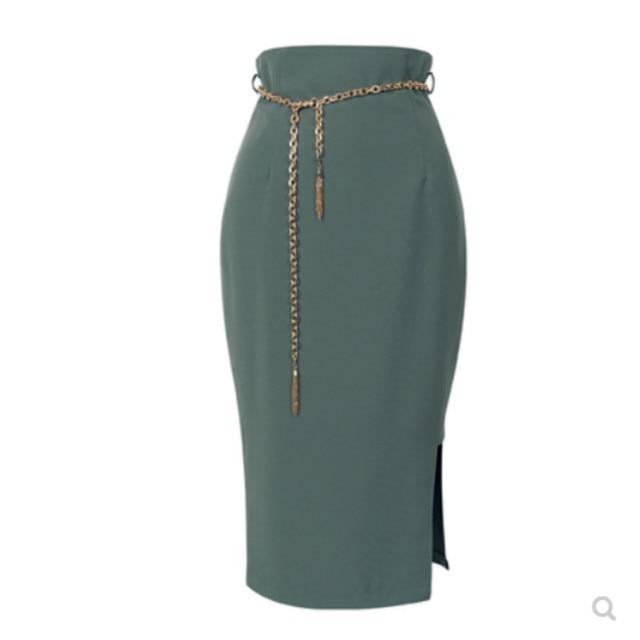 The 2020 autumn new women's Korean fashion show thin high waist skirt women's skirts pure color 5