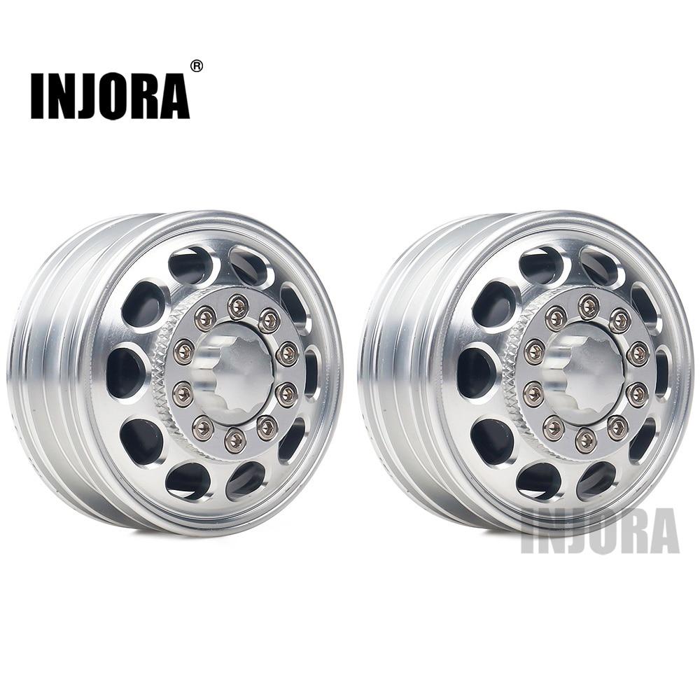 INJORA 2Pcs Metal Front Rear Wheel Rim Hub 10 Spoke For 1:14 Tamiya Tractor Truck RC Car Parts