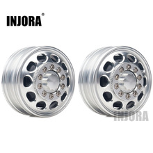 INJORA 2Pcs Metal Front Rear Wheel Rim Hub 10 Spoke for 1:14 Tamiya Tractor Truck RC