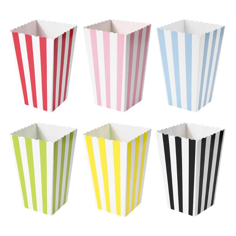 12pcs Colorful Chevron Paper Popcorn Boxes Pop Corn Favor Bags For Candy Food Wedding Decor Christmas Birthday Party Supplies