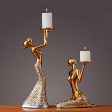 1Pair Vintage Abstract Lady Candle Holder Statue Sculpture Candlestick Party Weeding Decoration Accessories Home Decor