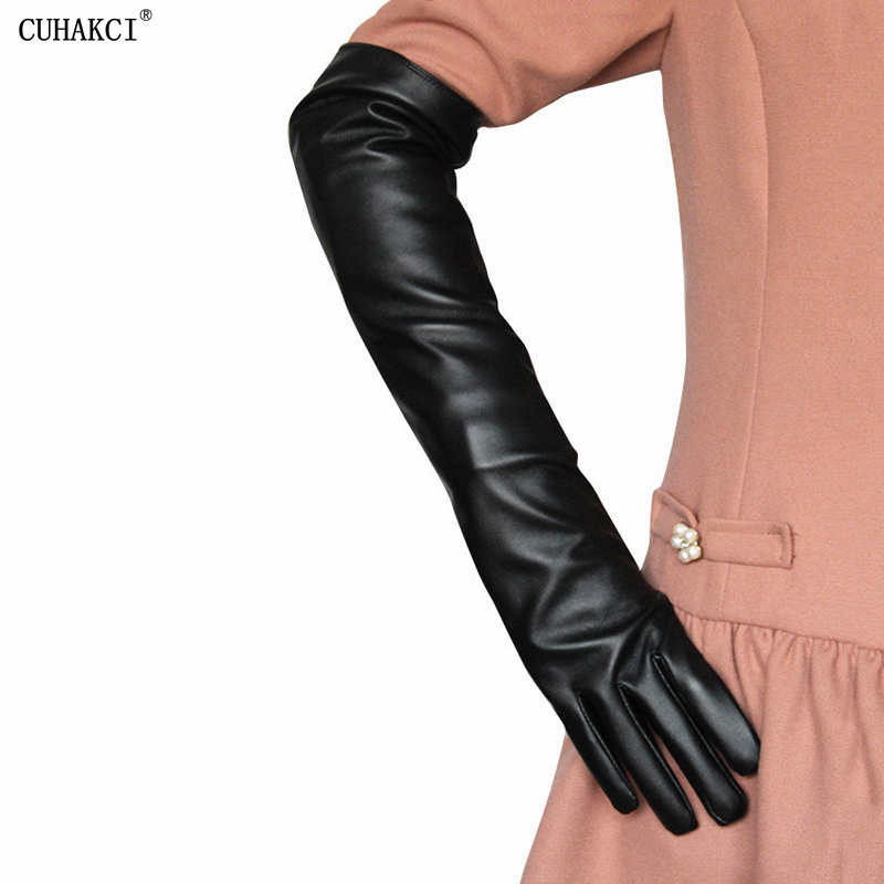 CUHAKCI Sexy Gloves Winter Women PU Leather Black 50CM Long Arm Sleeve Thin Full Finger Warm Driving Mittens Tight High Quality
