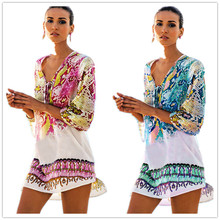 цена на Snakeskin Print Chiffon Beach Dress Swimwear Swimsuit Cover Up Tunic Plus Size Women Summer Beachwear Thin Mini Sundress Sarongs
