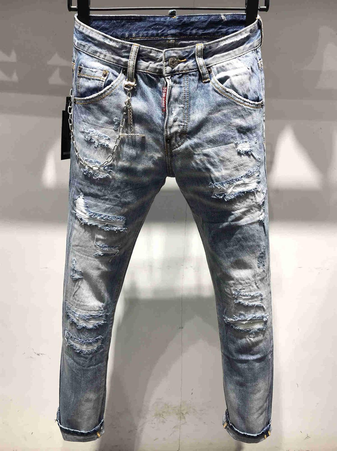 NEW Men Jeans Ripped For Men Skinny DSQ Jeans Pants Men Jeans Zipper Outwear Man Pants 1 Order
