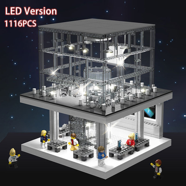 LED Light Creative Expert Series Street view Apple Store Building Blocks Fit Bricks Model Classic Phone Kids Toy Christmas Gifts