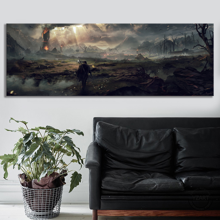 Middle Earth Shadow of Mordor Video Games Art Wall Decor Painting The Lord of The Rings Movie Poster Wall Art Canvas Painting 3