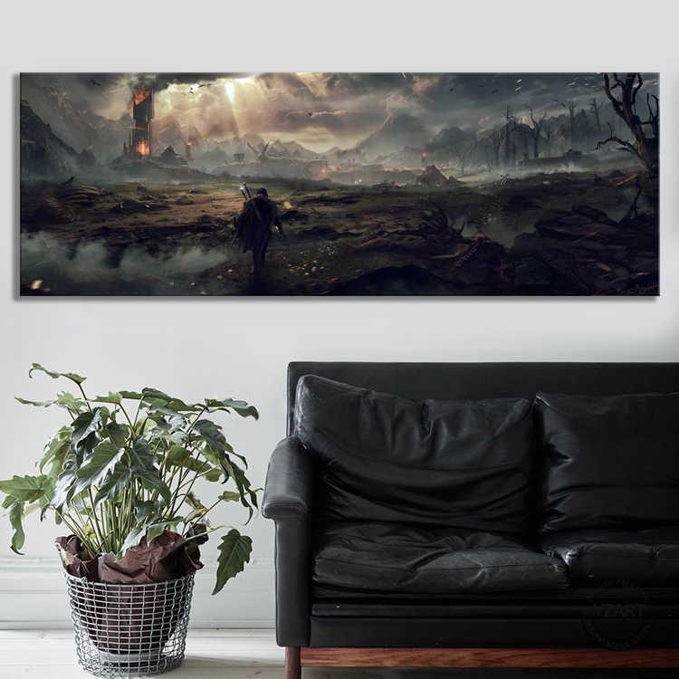 A terra média sombra de mordor video games arte decoração da parede pintura o senhor dos anéis filme cartaz da arte da parede pintura em tela