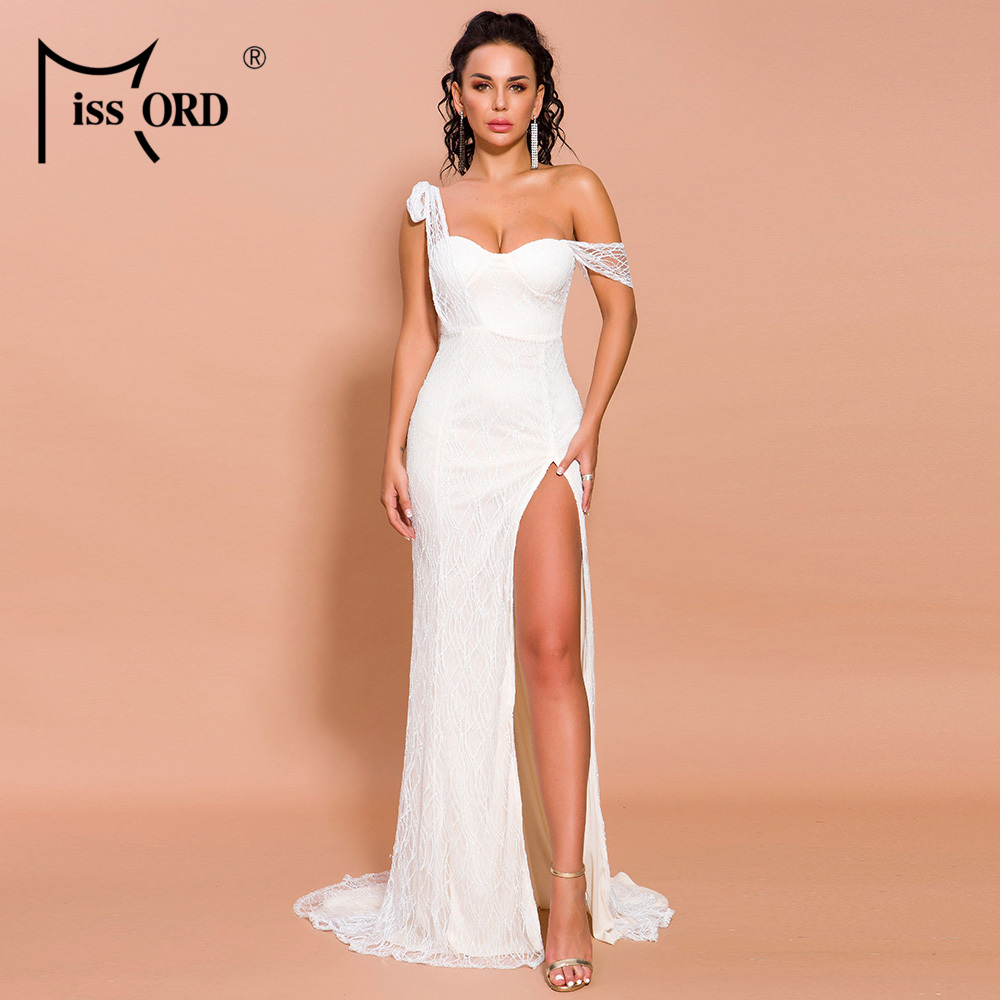 Missord 2020 Women Sexy Irregular Neck Off Shoulder High Split Dresses Female Glitter Elegant Maxi Dress   FT19562