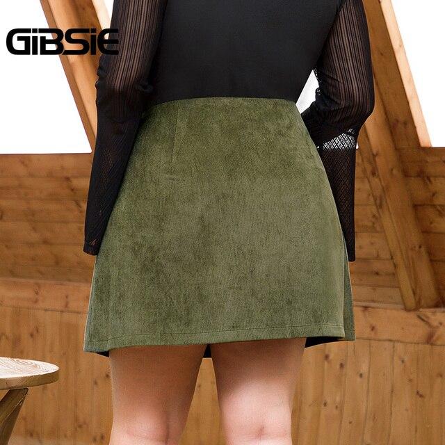 GIBSIE Plus Size Women Solid Button Corduroy Skirt Autumn winter Pocket Casual Office Lady High Waist Fashion Slim A-line Skirt 2