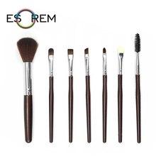 ESOREM 7pcs Slim Cosmetic Brush Set Eye Shadow Makeup Brushes Tapered Highlight Eyelash Sponge Loose Powder Brochas Maquillaje
