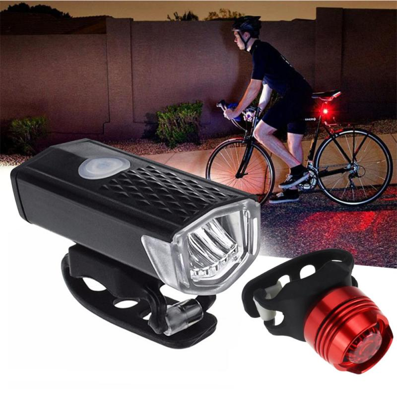 USB LED Bike Bicycle Cycling Light Rechargeable Headlight /&Taillight Set Bright