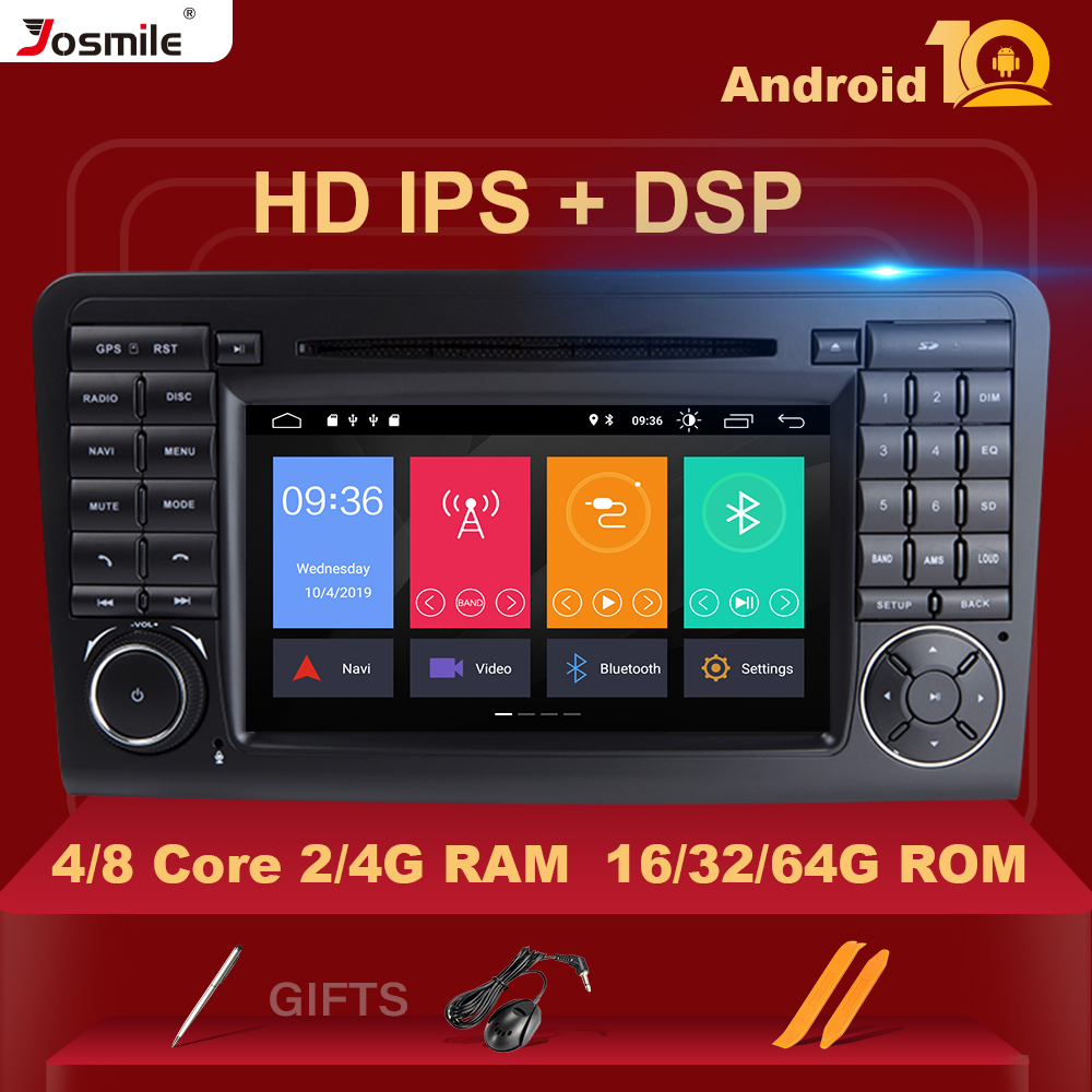 DSP IPS 2 din Android 10 Car DVD Player For BENZ <font><b>ML</b></font> 320/<font><b>ML</b></font> <font><b>350</b></font>/<font><b>W164</b></font>(2005-2012) GL GPS Radio Steel wheel control Camera RDS DAB+ image