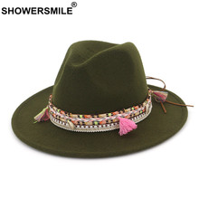 SHOWERSMILE Women Felt Fedora Wool Army Green Pork Pie Hat Female National Retro Autumn Winter Classic Ladies Trilby Hat(China)