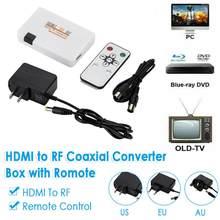 HDMI para RF Coaxial Converter Box com Controle Remoto HDMI para Analógico Coaxial REINO UNIDO EUA Plug UE #50