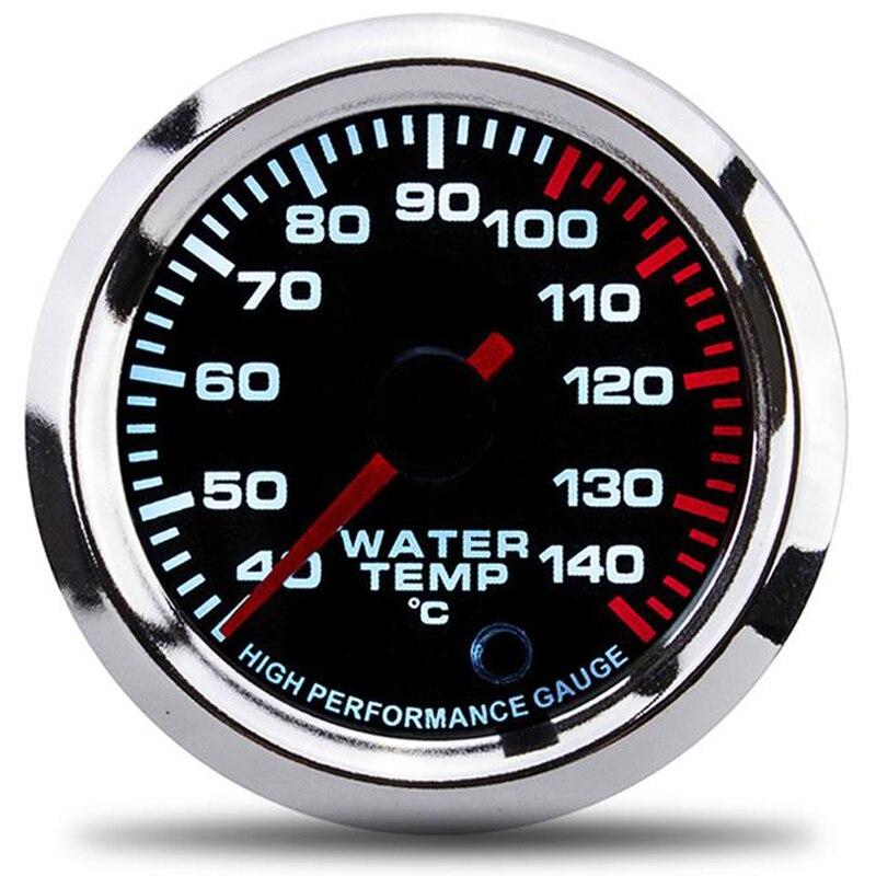 Wskaźnik temperatury wody 7 jasnych kolorów miernik wyświetlacza LCD wyścigi wskaźniki 52mm 2 Cal z czujnikiem de temperatura narzędzie samochodowe wskaźniki
