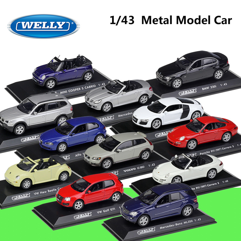 WELLY Diecast 1:43 Metal Model Car Volvo/ALFA/ Porsch/Audi/Benz Alloy Sports Car Vehicle Car Collection For Kids Gift Collection