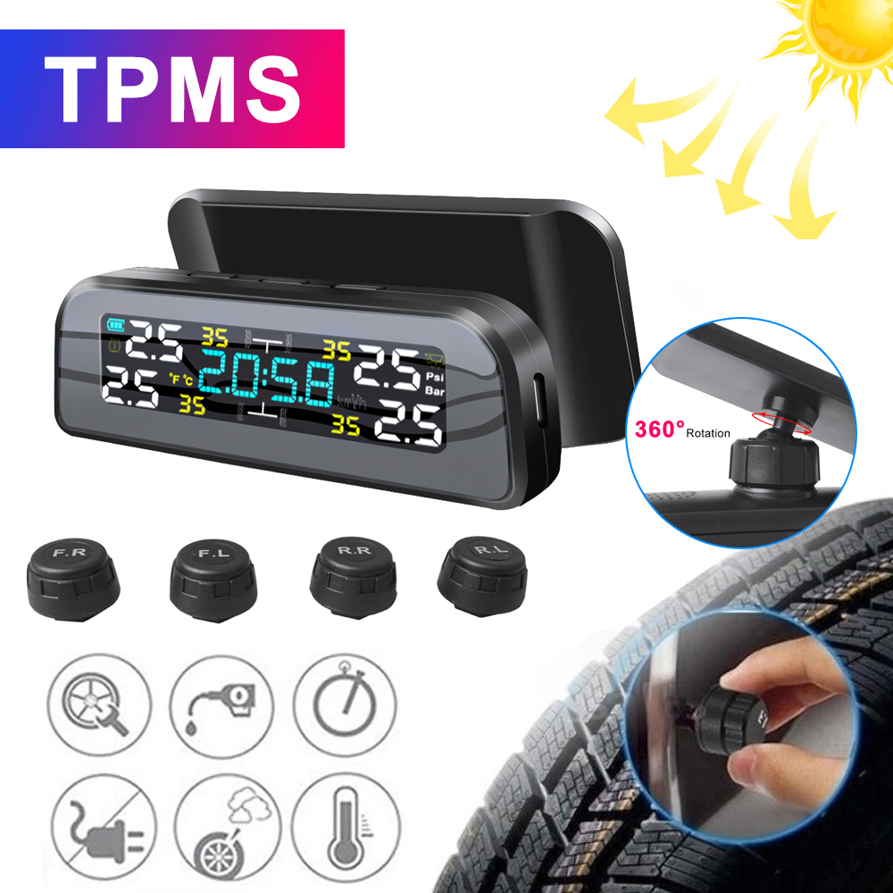 TPMS Solar Power TPMS Car Tire Pressure Alarm Monitor Auto Security System Tyre Pressure Temperature Warning 360 Adjustable