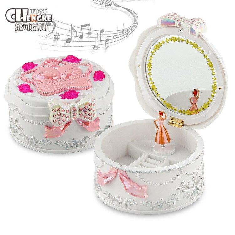 Creative With A Makeup Mirror Rotating Ballet Music Box Music Box Jewlery Box Birthday Gift