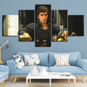 5 Pcs HD Prints Art Posters Artwork Canvas Painting Modern Wall Scarface Pictures for Living Room Home Decoration