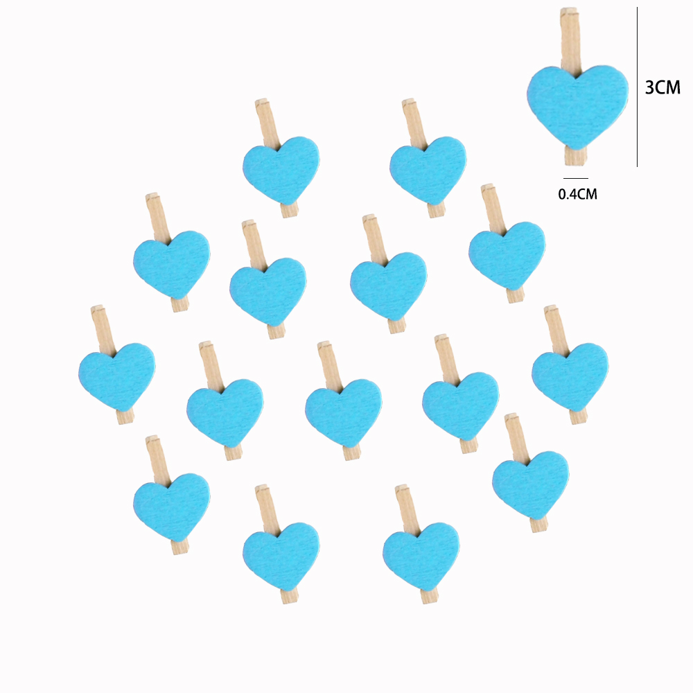 20 3CM Wooden Pegs with Blue Heart for Art Craft /& Decoration