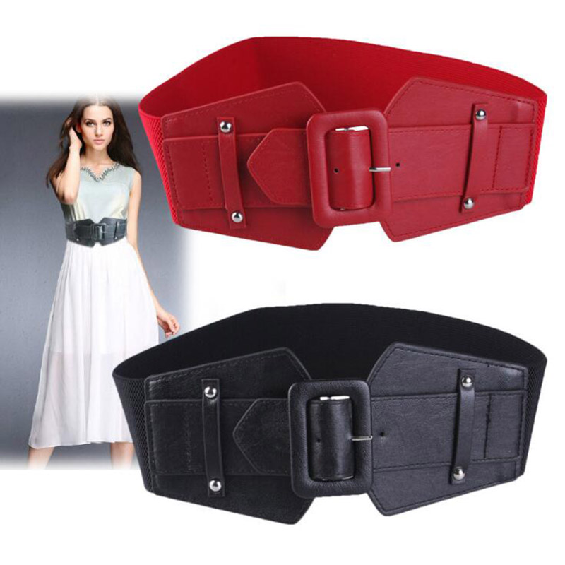 Vintage Simple Wide Female Belt Trend Commuter Solid Pu Elastic Belt Square Buckle Slim Dress Decorative Belt HIgh Quality
