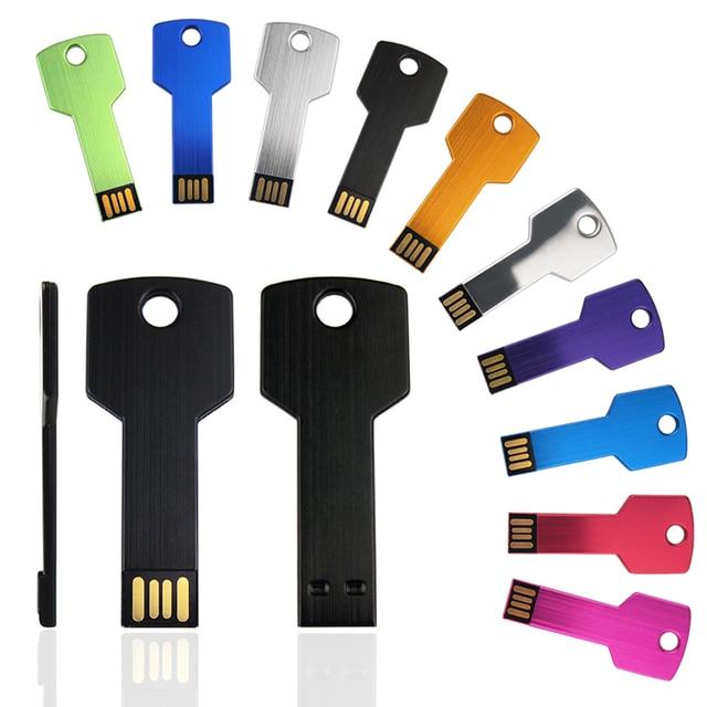 10 개/몫 사용자 정의 로고 USB 플래시 드라이브 금속 키 Pendrive 32g 16g 방수 펜 드라이브 USB2.0 메모리 스틱 USB 플래시 사용자 지정 금속
