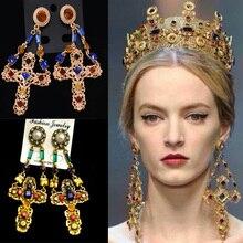 Baroque Earrings Crystal Pearl Double-Chain Jewelry Pendientes Long Women Cross for Big