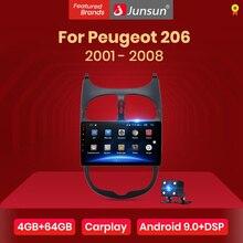 Автомобильный мультимедийный плеер Junsun V1 pro, 4 Гб + 64 ГБ, Android 9,0, DSP для Peugeot 206 2001 2008, радио, мультимедиа, видео плеер, GPS, RDS 2 din dvd