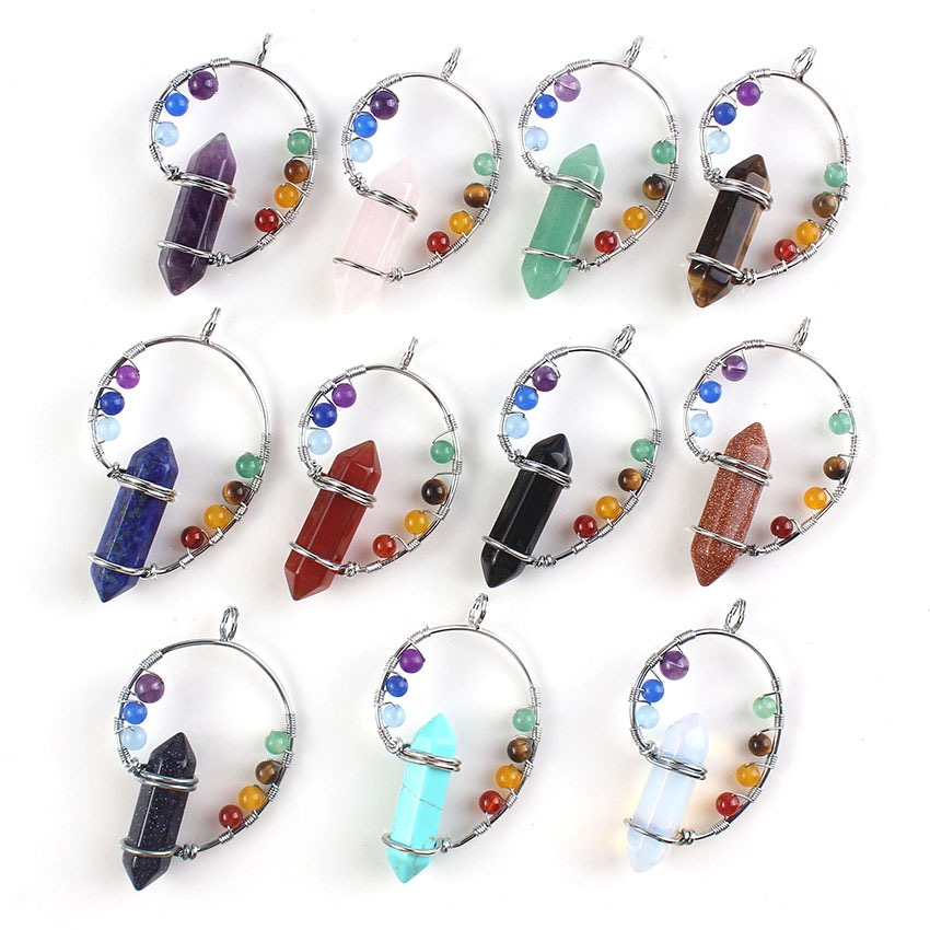 Silver plated fashion natural crystal hexagonal column with small stone beads pendant earrings for women healing seven chakras d