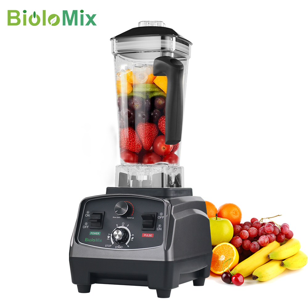 BioloMix 3HP 2200W Heavy Duty Commercial Grade Timer Blender Mixer Juicer Fruit Food Processor Ice Smoothies BPA Free 2L Jar