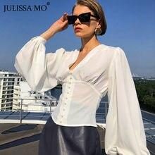 Julissa Mo Witte Knop Up Fashion Vrouwen Blouses 2021 Lente Lange Puff Mouw V-hals Shirt Elegante Sexy Slanke Vrouwelijke Shirts top