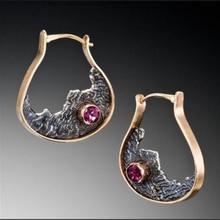 Fashion Bronze Gold Wine Red Zircon Earrings Retro Charm U Shape Irregular Creative Ladies Ornament P5P806