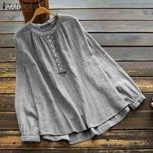 ZANZEA-túnica Vintage de manga larga para mujer, camisas a rayas, blusa informal de algodón con cuello, camisola de mujer de talla grande 5XL 2021