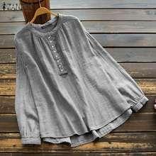 Shirts Women Tunic-Tops Long-Sleeve Blouseso Vintage Stripes Plus-Size Neck-Blusas Female