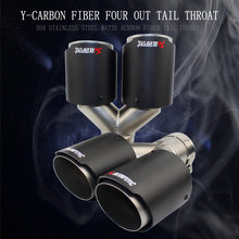 One pair Inlet63mm-Outlet 89mm(Dual) for AKRAPOVIC AK carbon fiber tail tip exhaust pipe tail for BMW for Volkswagen for Benz 1pc akrapovic 89mm size car modification carbon fiber exhaust muffle pipe for benz bmw audi porsche cadillac honda buick ford