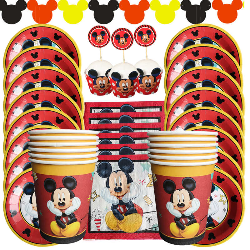 Cartoon Mickey Mouse Birthday Party Decorations Kids Paper Plates Cup Napkins decoration Anniversaire Party Supplies For Kids