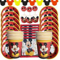 Cartoon Mickey Maus Geburtstag Party Dekorationen Kinder Papier Platten Tasse Servietten dekoration Anniversaire Partei Liefert Für Kinder